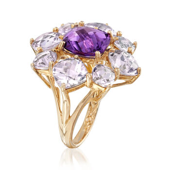 C. 1980 5.60 ct. t.w. Rock Crystal and 3.15 Carat Amethyst Floral Ring in 14kt Yellow Gold. Size 7, , default