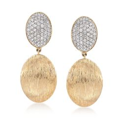 .75 ct. t.w. Pave Diamond and Textured Oval Drop Earrings in 14kt Yellow Gold, , default