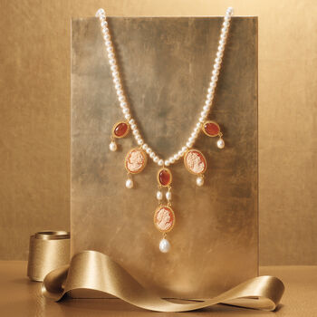 Italian Shell Cameo and 5-10mm Cultured Pearl Necklace with Carnelians in 18kt Gold Over Sterling, , default