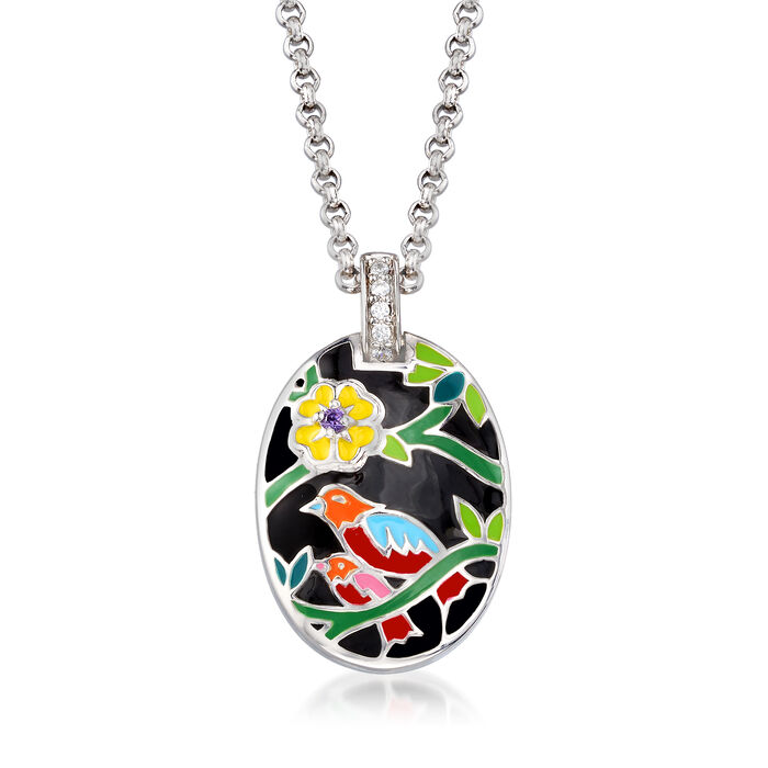 "Belle Etoile ""Song Bird"" Multicolored Enamel Pendant with CZ Accents in Sterling Silver, , default"
