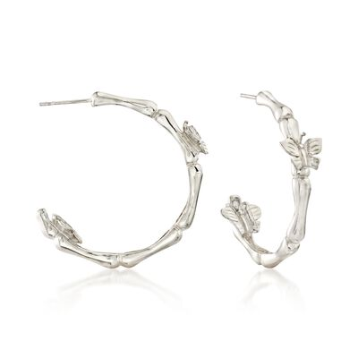 Sterling Silver Butterfly Bamboo-Style Hoop Earrings, , default