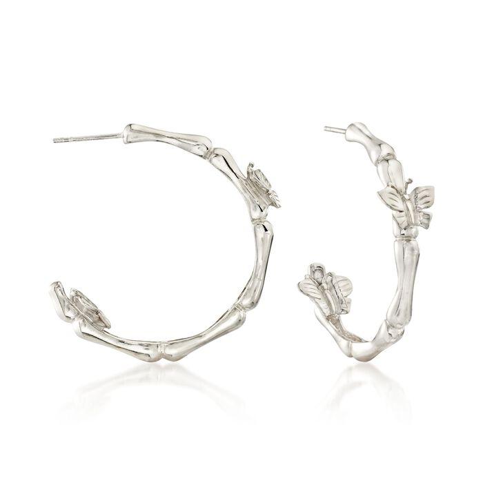 """Sterling Silver Butterfly Bamboo-Style Hoop Earrings. 1 3/8"""""""