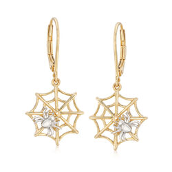 Spider and Web Earrings in Sterling Silver and 18kt Yellow Gold Over Sterling, , default