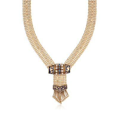 C. 1970 Vintage Cultured Pearl and .45 ct. t.w. Sapphire Tassel Necklace in 14kt Yellow Gold