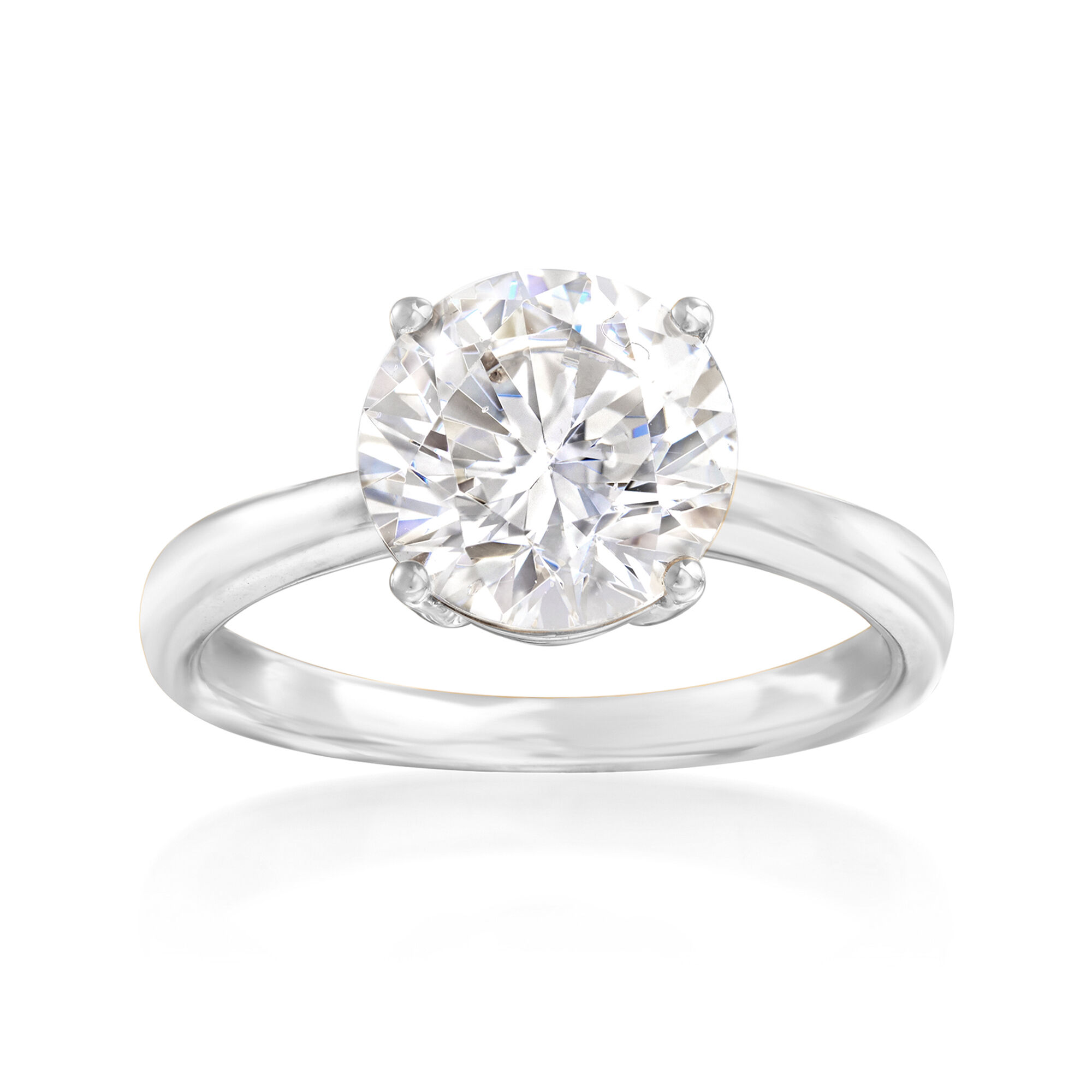 Well-Educated 14ct White Gold Round Cut Cz Ring Other Fine Rings