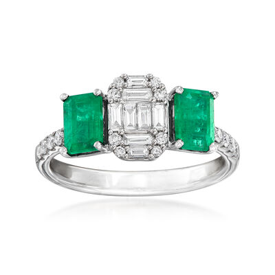 1.20 ct. t.w. Emerald and .40 ct. t.w. Diamond Ring in 14kt White Gold, , default
