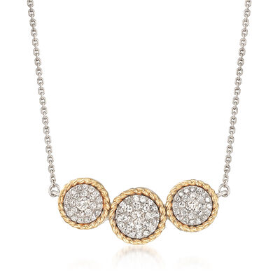 .51 ct. t.w. Diamond Cluster Necklace in Sterling Silver and 14kt Yellow Gold, , default