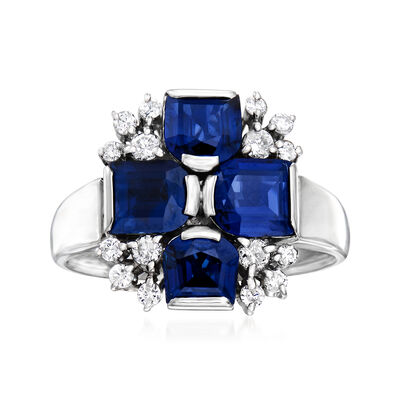 C. 1970 Vintage 2.42 ct. t.w. Sapphire and .25 ct. t.w. Diamond Cross Ring in Platinum