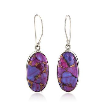 Purple Turquoise Oval Drop Earrings in Sterling Silver