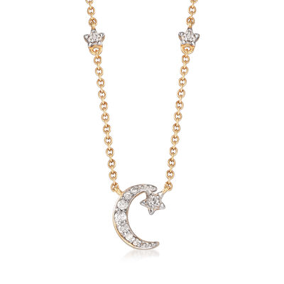 .18 ct. t.w. Diamond Moon and Star Necklace in 14kt Yellow Gold, , default