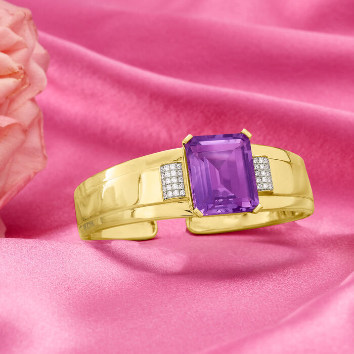 25.00 Carat Amethyst and .50 ct. t.w. Diamond Bangle Bracelet in 14kt Yellow Gold