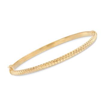 Italian 14kt Yellow Gold Diamond-Cut Bangle Bracelet, , default