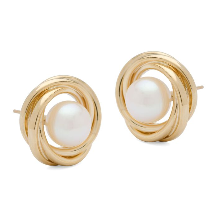 7mm Cultured Pearl Knot Earrings in 14kt Yellow Gold, , default