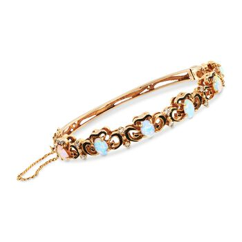 "C. 1960 Vintage Opal and .25 ct. t.w. Diamond Bangle Bracelet in 14kt Yellow Gold. 6"", , default"