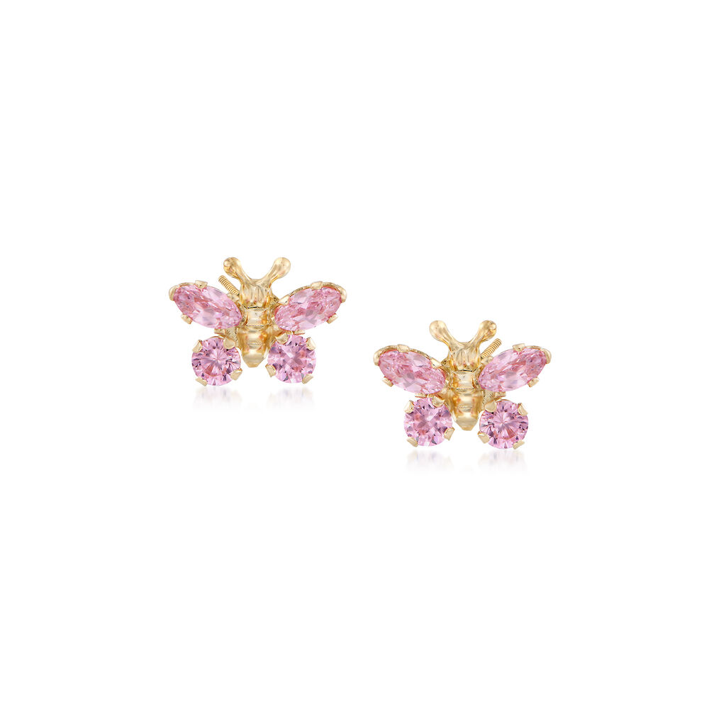 68722289a Child's Simulated Pink Sapphire Butterfly Earrings in 14kt Yellow Gold, ,  default