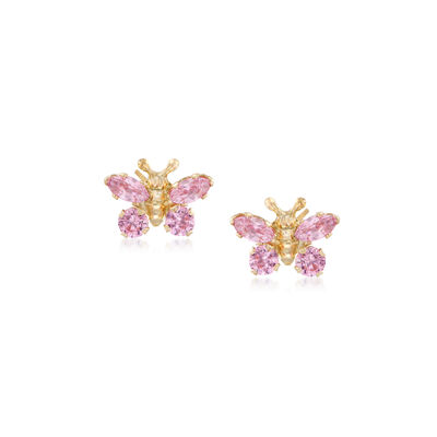Child's Simulated Pink Sapphire Butterfly Earrings in 14kt Yellow Gold, , default