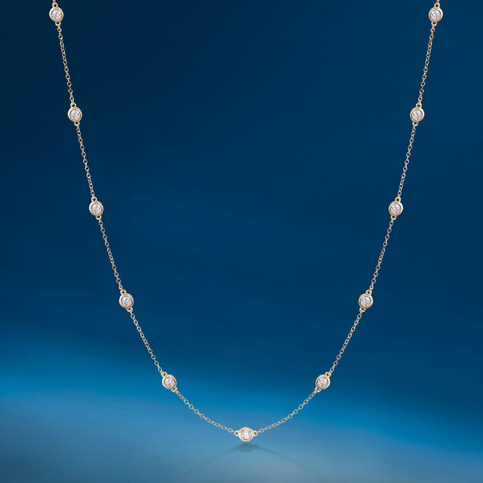 .50 ct. t.w. Bezel-Set Diamond Station Necklace in 14kt Yellow Gold