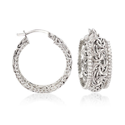 Sterling Silver Beaded-Edge Byzantine Hoop Earrings, , default