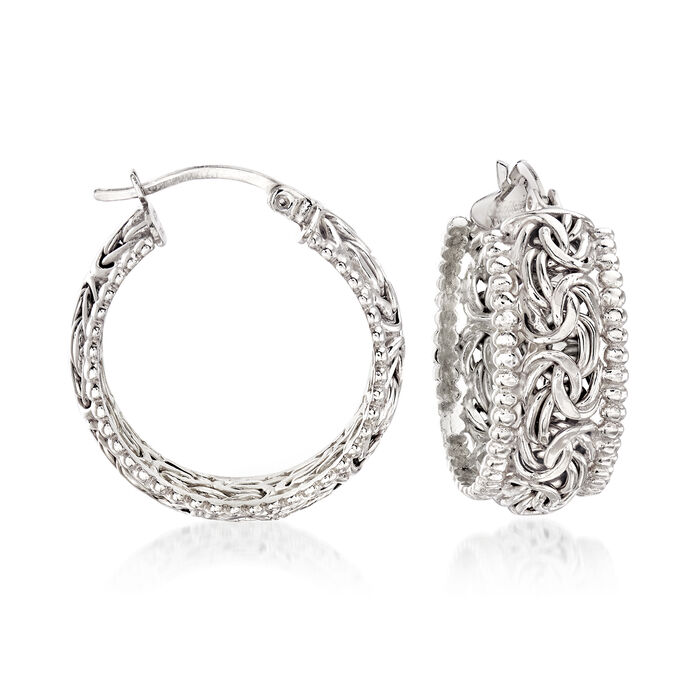 Sterling Silver Beaded-Edge Byzantine Hoop Earrings