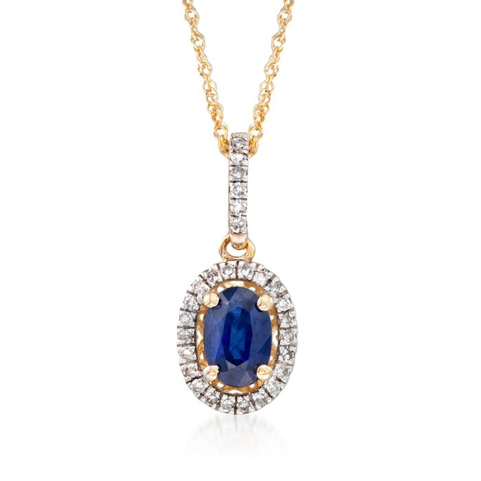 .60 Cart Sapphire and .12 ct. t.w. Diamond Pendant Necklace in 14kt Yellow Gold