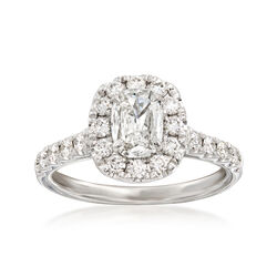 Henri Daussi 1.45 ct. t.w. Diamond Halo Engagement Ring in 18kt White Gold, , default