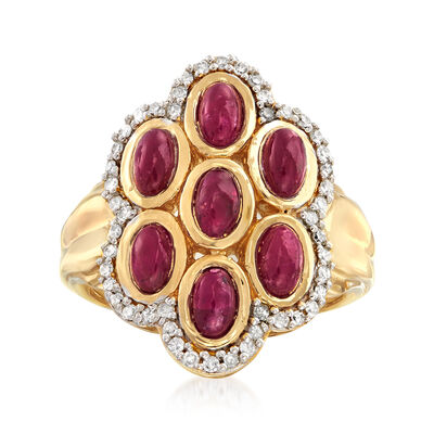 2.10 ct. t.w. Ruby and .31 ct. t.w. Diamond Cluster Ring in 18kt Gold Over Sterling, , default