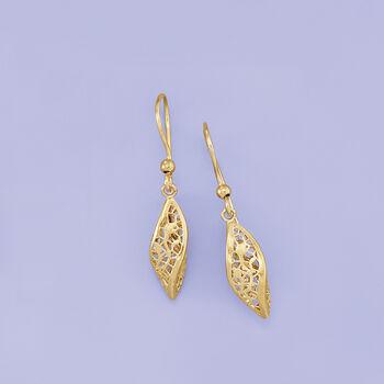 Italian 14kt Yellow Gold Twisted Lace Drop Earrings, , default