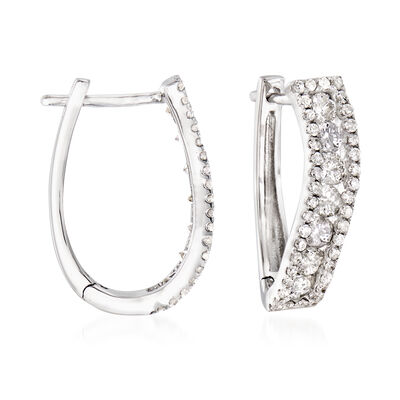 1.00 ct. t.w. Diamond Curved Hoop Earrings in 14kt White Gold