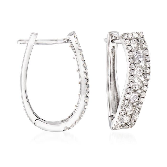 "1.00 ct. t.w. Diamond Curved Hoop Earrings in 14kt White Gold. 5/8"""