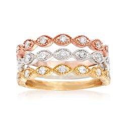 .58 ct. t.w. Diamond Jewelry Set: Three Stackable Bands in 14kt Tri-Colored Gold, , default