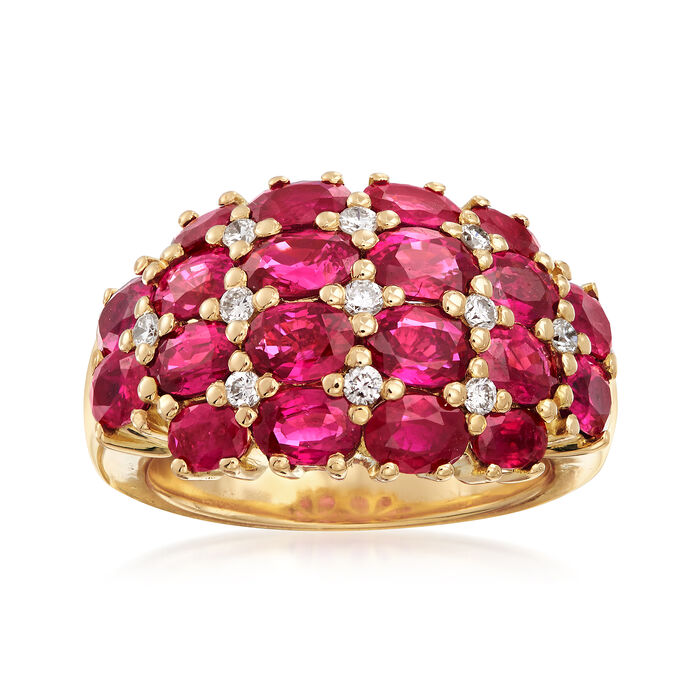 C. 2000 Vintage 5.73 ct. t.w. Ruby and .30 ct. t.w. Diamond Dome Ring in 18kt Yellow Gold. Size 6