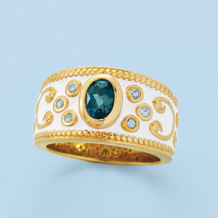 1.05 Carat London Blue Topaz and .18 ct. t.w. Swiss Blue Topaz Ring with White Enamel in 18kt Gold Over Sterling