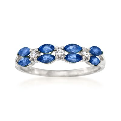 .80 ct. t.w. Sapphire Ring with Diamond Accents in 14kt White Gold, , default