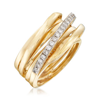 .25 ct. t.w. Diamond Stripe Ring in 14kt Yellow Gold. Size 7.5, , default