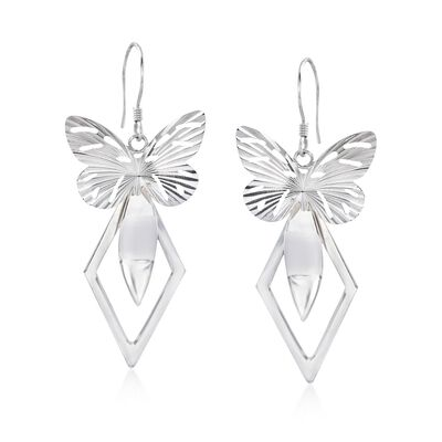 Sterling Silver Geometric Butterfly Drop Earrings, , default
