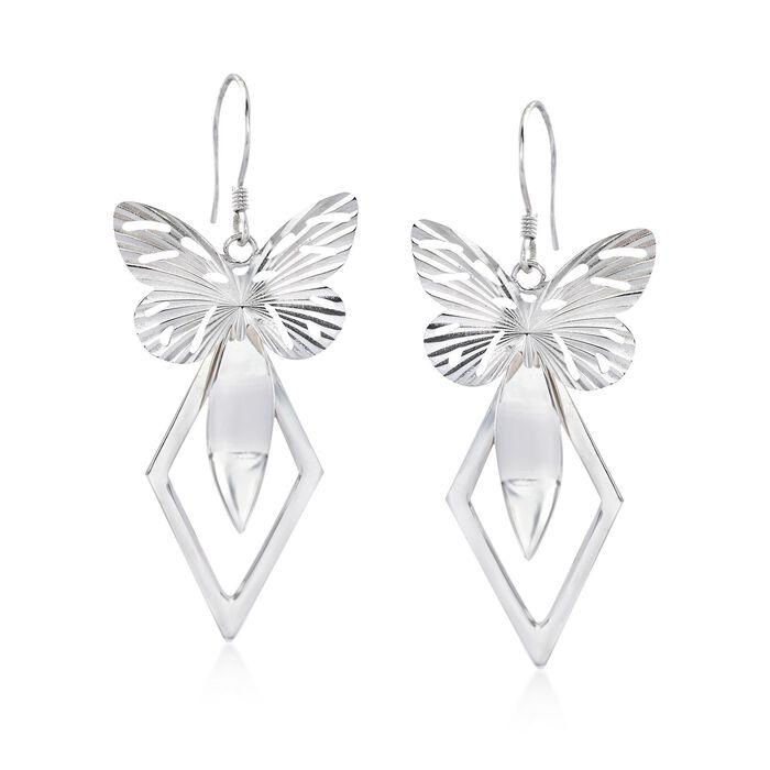 Sterling Silver Geometric Butterfly Drop Earrings, , default