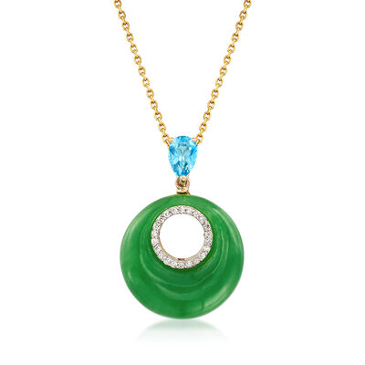 18x18mm Green Jade and .50 ct. t.w. Blue Topaz Pendant Necklace in 14kt Yellow Gold, , default