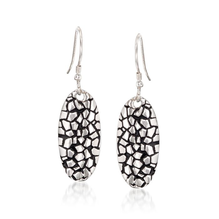 Sterling Silver Cobblestone Oval Drop Earrings with Black Epoxy