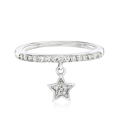 .20 ct. t.w. Diamond Star Charm Ring in Sterling Silver
