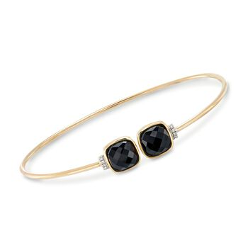 "Black Onyx Cuff Bracelet With Diamond Accents in 14kt Yellow Gold. 8"", , default"