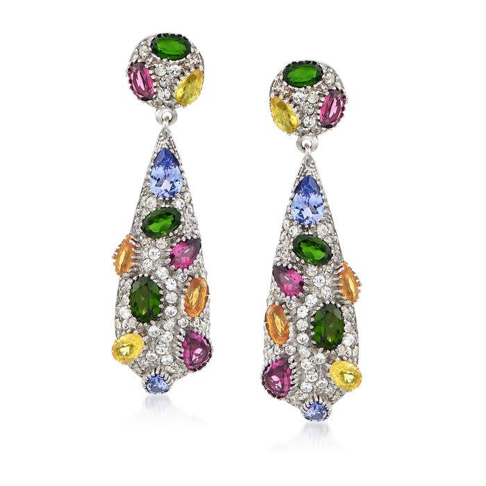 9.10 ct. t.w. Multi-Stone Drop Earrings in Sterling Silver