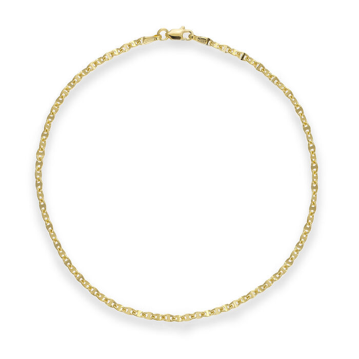 """14kt Yellow Gold Anchor-Link Anklet. 10"""""""
