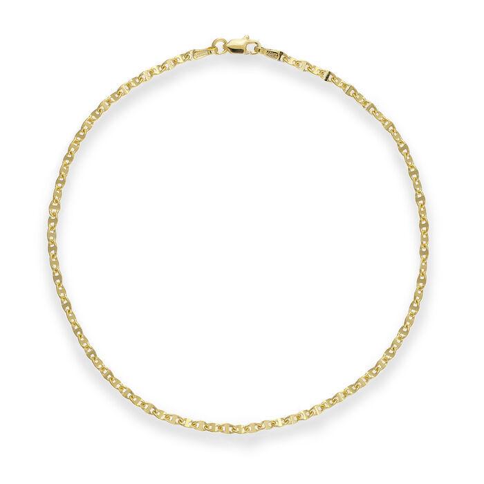 14kt Yellow Gold Anchor-Link Anklet, , default