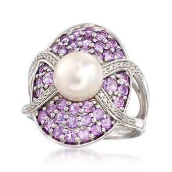 8-8.5mm Cultured Pearl and 1.10 ct. t.w. Amethyst Ring With Diamonds in Sterling Silver, , default