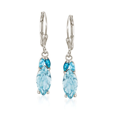 4.00 ct. t.w. Tonal Blue Topaz Drop Earrings in Sterling Silver