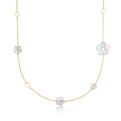 11.5-25mm Green and White Mother-Of-Pearl Flower Station Necklace in 18kt Yellow Gold, , default