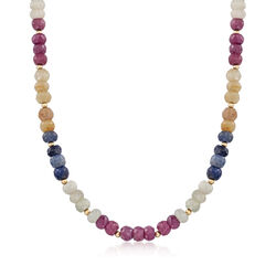 255.00 ct. t.w. Multicolored Sapphire Bead Necklace in 14kt Yellow Gold , , default