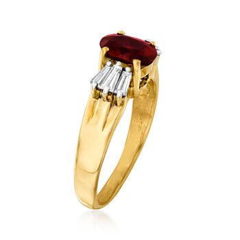 C. 1980 Vintage 1.35 Carat Ruby and .60 ct. t.w. Diamond Ring in 14kt Yellow Gold. Size 5.5