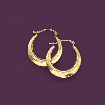 "14kt Yellow Gold Beaded and Polished Hoop Earrings. 7/8"", , default"