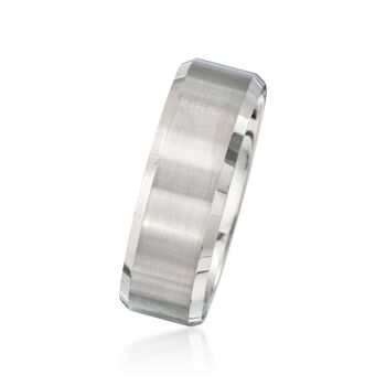 Men's 8mm White Tungsten Carbide Wedding Ring, , default